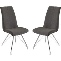 Product photograph showing Mekbuda Dark Grey Fabric Upholstered Dining Chair In Pair