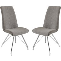 Product photograph showing Mekbuda Grey Fabric Upholstered Dining Chair In Pair