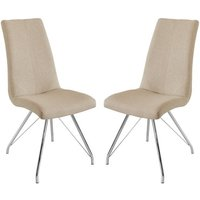 Product photograph showing Mekbuda Taupe Fabric Upholstered Dining Chair In Pair