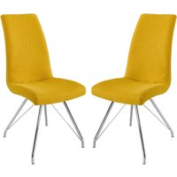 Product photograph showing Mekbuda Yellow Fabric Upholstered Dining Chair In Pair