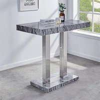 Product photograph showing Melange Dark Grey Marble Effect High Gloss Bar Table