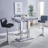 Melange Gloss Marble Effect Bar Table 4 Candid Black Bar Stool