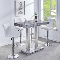 Product photograph showing Melange Gloss Marble Effect Bar Table And 4 Ripple White Stools