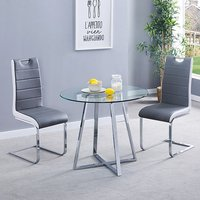 Product photograph showing Melito Clear Round Dining Table With 2 Petra Grey White Chairs
