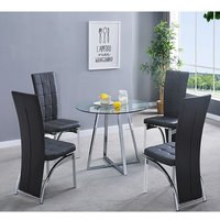 Product photograph showing Melito Clear Round Dining Table With 4 Ravenna Black Chairs