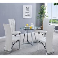 Product photograph showing Melito Clear Round Dining Table With 4 Ravenna White Chairs