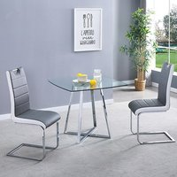 Product photograph showing Melito Clear Square Dining Table With 2 Petra Grey White Chairs