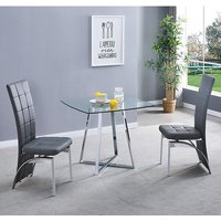 Product photograph showing Melito Clear Square Dining Table With 2 Ravenna Grey Chairs