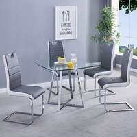Melito Clear Square Dining Table With 4 Petra Grey White Chairs