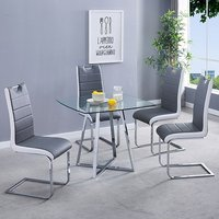Product photograph showing Melito Clear Square Dining Table With 4 Petra Grey White Chairs