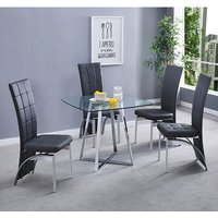 Product photograph showing Melito Clear Square Dining Table With 4 Ravenna Black Chairs