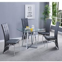 Melito Clear Square Dining Table With 4 Ravenna Grey Chairs