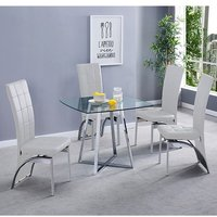 Product photograph showing Melito Clear Square Dining Table With 4 Ravenna White Chairs
