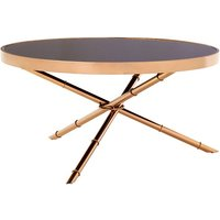 Melville Glass Coffee Table Round In Black With Rose Gold Frame