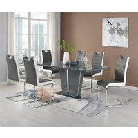 Memphis Glass Large Dining Table With 6 Petra Grey White Chairs