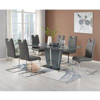 Memphis Grey Glass Large Dining Table With 6 Petra Grey Chairs