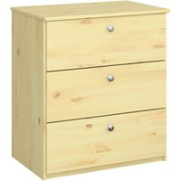 Product photograph showing Memphis Kids Wooden Chest Of 3 Drawers In Natural
