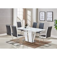Memphis Glass Dining Table In White And 6 Symphony Black Cha
