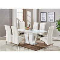 Memphis Glass Dining Table In White Gloss With 6 Dining Chai