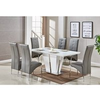 Memphis Glass Dining Table In White Gloss With 6 Grey Chairs