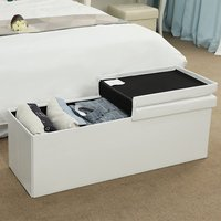 Product photograph showing Mendon Large Pvc Folding Storage Ottoman In White