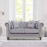 Mentor Fabric 2 Seater Sofa In Grey With Dark Ash Legs
