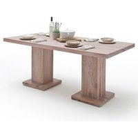 Mancinni 220cm Dining Table In Limed Oak With 2 Pedestals