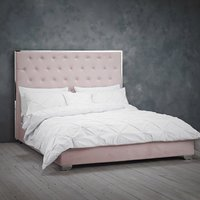 Product photograph showing Meribel Velvet Upholstered Double Bed In Pink