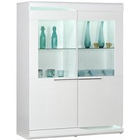 Product photograph showing Merida Led Display Cabinet In White High Gloss With 2 Doors