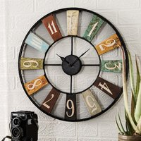 Product photograph showing Merope Industrial Style Metal Archie Wall Clock
