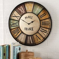 Product photograph showing Merope Industrial Style Metal Wall Clock Chalet