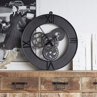 Product photograph showing Merope Large Metal Factory Wall Clock