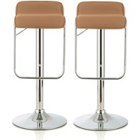 Product photograph showing Mestler Modern Bar Stool In Taupe Faux Leather In A Pair