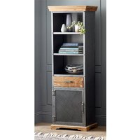 Product photograph showing Metapoly Industrial Bookcase In Acacia With 1 Door 1 Drawer