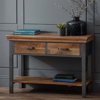 Product photograph showing Metapoly Industrial Console Table In Acacia With 2 Drawers