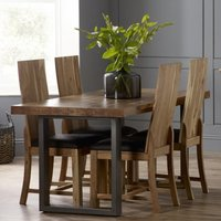 Product photograph showing Metapoly Industrial Dining Table In Acacia With 4 Chairs