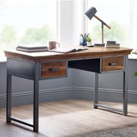 Product photograph showing Metapoly Industrial Study Desk In Acacia With 2 Drawers