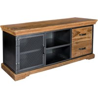 Product photograph showing Metapoly Industrial Tv Stand In Acacia With 1 Door 2 Drawers