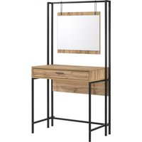 Product photograph showing Michigan Wooden Dressing Table In Oak With Mirror