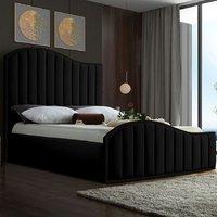 Midland Plush Velvet Upholstered Single Bed In Black