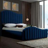 Midland Plush Velvet Upholstered Single Bed In Blue