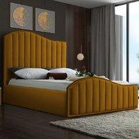 Midland Plush Velvet Upholstered Single Bed In Mustard