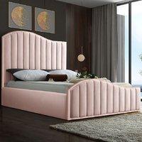 Midland Plush Velvet Upholstered Single Bed In Pink
