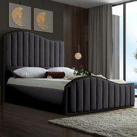Midland Plush Velvet Upholstered Single Bed In Steel