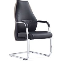 Mien Leather Cantilever Office Visitor Chair In Black And Mink
