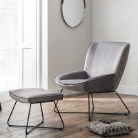 image-Mila Velvet Bedroom Chair With Stool In Grey