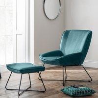 image-Mila Velvet Bedroom Chair With Stool In Teal