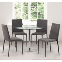Milan Glass Top Dining Set With 4 Jazz Grey Fabric Chairs