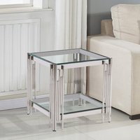 Product photograph showing Milano Clear Glass Side Table With Silver Stainless Steel Legs