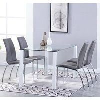 Product photograph showing Milano Glass Dining Set With 4 Boston Grey Leather Chairs